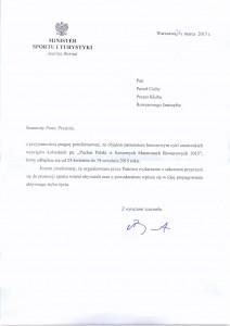 Pismo Ministra Sportu
